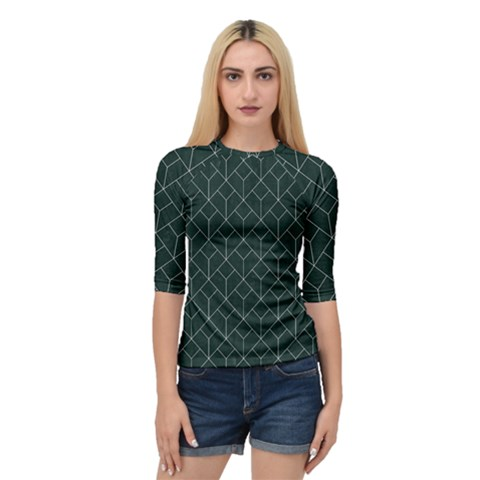 Green Art Deco Quarter Sleeve Raglan Tee by goljakoff