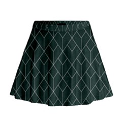 Green Art Deco Mini Flare Skirt