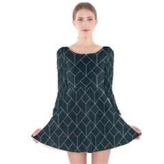 Green Art Deco Long Sleeve Velvet Skater Dress