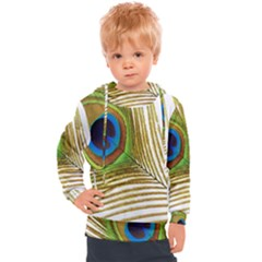 Peacock Feather Plumage Colorful Kids  Hooded Pullover