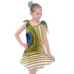 Peacock Feather Plumage Colorful Kids  Tie Up Tunic Dress