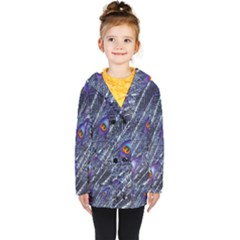Peacock Feathers Color Plumage Blue Kids  Double Breasted Button Coat by Sapixe