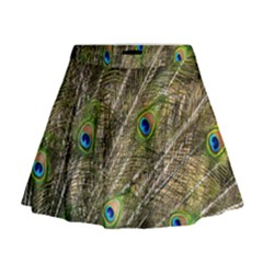 Peacock Feathers Color Plumage Green Mini Flare Skirt