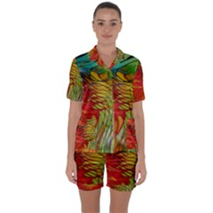 Texture Art Color Pattern Satin Short Sleeve Pyjamas Set