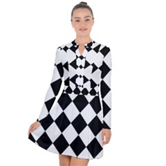 Grid Domino Bank And Black Long Sleeve Panel Dress