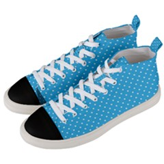 White Polka Dots On Blue Ink Men s Mid-top Canvas Sneakers by goljakoff