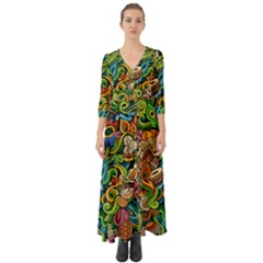 Indian Doodle Pattern Button Up Boho Maxi Dress