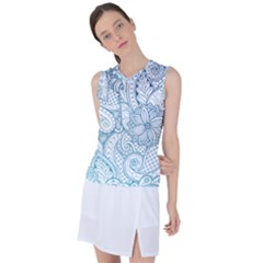 Ethnic Floral Pattern Women s Sleeveless Mesh Sports Top