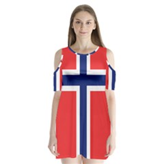 Flag Of Norway Shoulder Cutout Velvet One Piece