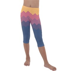 Autumn Pastel Palette Waves Kids  Lightweight Velour Capri Leggings  by goljakoff