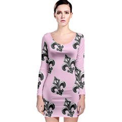 French France Fleur De Lys Metal Pattern Black And White Antique Vintage Pink And Black Rocker Long Sleeve Bodycon Dress by Quebec