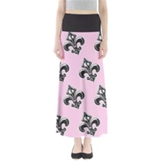 French France Fleur De Lys Metal Pattern Black And White Antique Vintage Pink And Black Rocker Full Length Maxi Skirt by Quebec