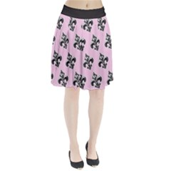 French France Fleur De Lys Metal Pattern Black And White Antique Vintage Pink And Black Rocker Pleated Skirt by Quebec