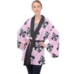 French France Fleur De Lys Metal Pattern Black And White Antique Vintage Pink And Black Rocker Long Sleeve Velvet Kimono  by Quebec