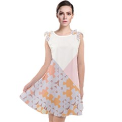 Abstrait Triangles Rose Tie Up Tunic Dress