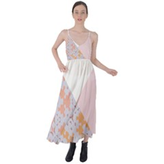 Abstrait Triangles Rose Tie Back Maxi Dress