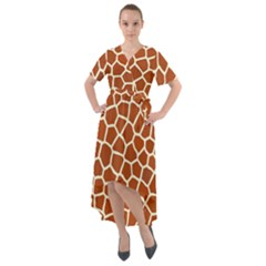 Giraffe Pattern Front Wrap High Low Dress