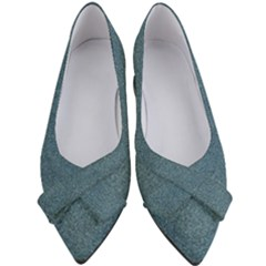 Blue Denim Fabric Pattern Women s Bow Heels