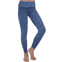 Blue Jeans Pattern Kids  Lightweight Velour Classic Yoga Leggings by goljakoff