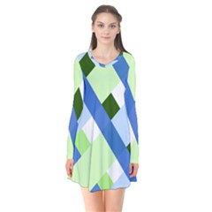Modern Blue And Green Stripes Long Sleeve V Neck Flare Dress