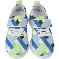 Modern Blue And Green Stripes Kids  Velcro Strap Shoes by goljakoff