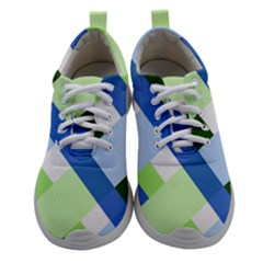 Modern Blue And Green Stripes Women Athletic Shoes by goljakoff