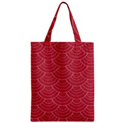 Red Sashiko Pattern Zipper Classic Tote Bag