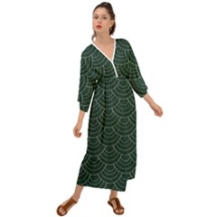 Green Sashiko Pattern Grecian Style  Maxi Dress