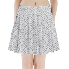 White Sashiko Pattern Pleated Mini Skirt