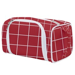 Red Plaid Pattern Toiletries Pouch