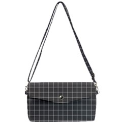 Black Plaid Pattern Removable Strap Clutch Bag