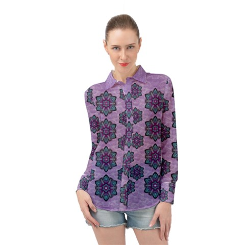 A Gift With Flowers Stars And Bubble Wrap Long Sleeve Chiffon Shirt by pepitasart