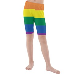 Rainbow Kids  Mid Length Swim Shorts
