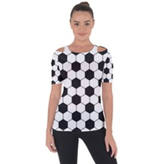 Soccer Ball Shoulder Cut Out Short Sleeve Top by goljakoff