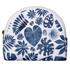 Blue Tropical Leaves Horseshoe Style Canvas Pouch