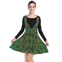 Love The Hearts On Green Plunge Pinafore Dress by pepitasart