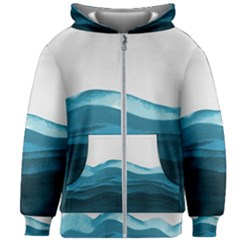 Blue Waves Kids  Zipper Hoodie Without Drawstring by goljakoff