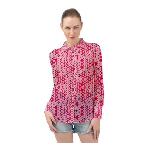 Abstrait Formes Rose  Long Sleeve Chiffon Shirt by kcreatif