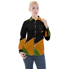 Trio Colors Noir/vert/orange Women s Long Sleeve Pocket Shirt