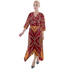 Art Deco 24 Quarter Sleeve Wrap Front Maxi Dress