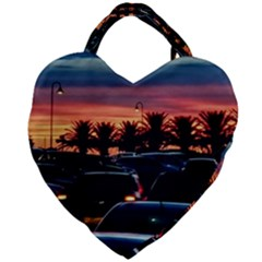 Urban Sunset Scene, Punta Del Este   Uruguay Giant Heart Shaped Tote by dflcprintsclothing
