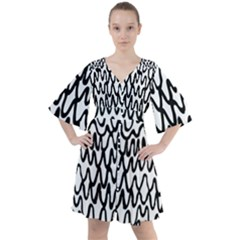 Abstract Handdrawn Lines Boho Button Up Dress