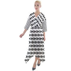 Cross Pattern Quarter Sleeve Wrap Front Maxi Dress