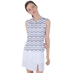 Minimalistic Chevron Pattern Women s Sleeveless Mesh Sports Top by goljakoff