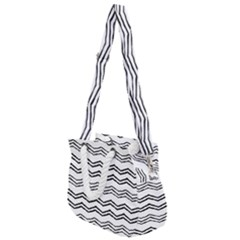 Drawing Chevron Rope Handles Shoulder Strap Bag