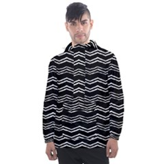 Black And White Chevrons Men s Front Pocket Pullover Windbreaker