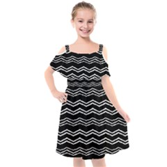 Black And White Chevrons Kids  Cut Out Shoulders Chiffon Dress