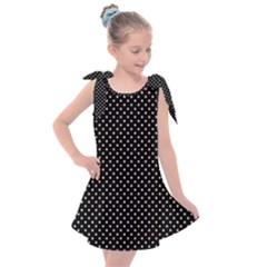 Black And White Polka Dot Kids  Tie Up Tunic Dress