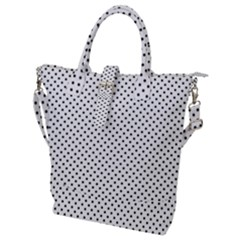 Black Polka Dot Buckle Top Tote Bag