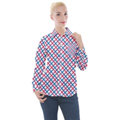 Blue And Red Lines Women s Long Sleeve Pocket Shirt
